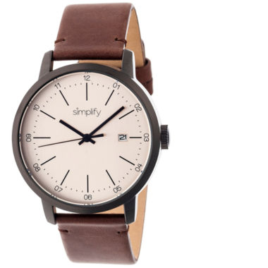 jcpenney.com | Simplify Mens The 2500 Pewter Dial Leather-Band Watch with Date SIM2504