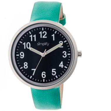 jcpenney.com | Simplify Unisex The 2600 Black Dial Teal Leather-Band Watch SIM2605
