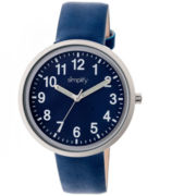 Simplify Unisex The 2600 Blue Dial Leather-Band Watch SIM2606