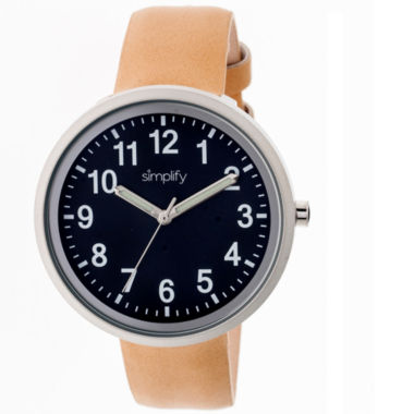 jcpenney.com | Simplify Unisex The 2600 Navy Dial Leather-Band Watch SIM2607