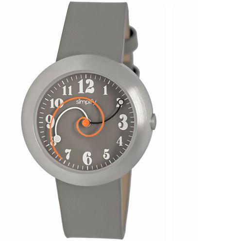 Simplify Unisex The 2700 Grey Leather-Band Watch SIM2703