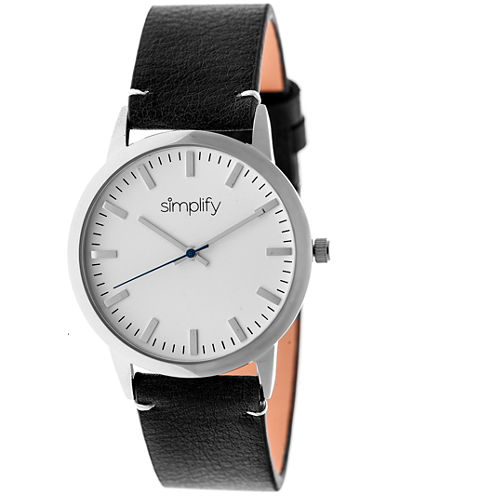 Simplify Unisex The 2800 Black Leather-Band Watch SIM2801