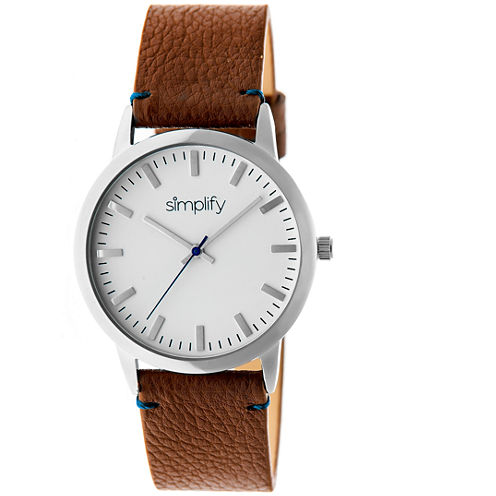 Simplify Unisex The 2800 Camel Leather-Band Watch SIM2802