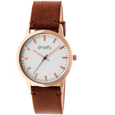 jcpenney.com | Simplify Unisex The 2800 Light Brown Leather-Band Watch SIM2803