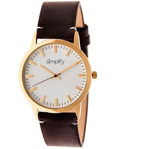 Simplify Unisex The 2800 Dark Brown Leather-Band Watch SIM2805