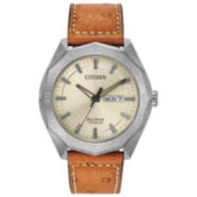 Citizen® Eco-Drive Men's Titanium Watch With Brown Leather Strap Aw0060-11P