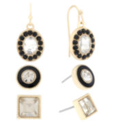 Liz Claiborne® 3-pr. Black Crystal Gold-Tone Earring Set