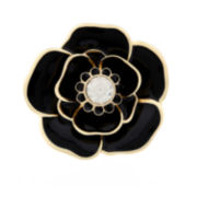 Liz Claiborne® Black Gold-Tone Flower Pin