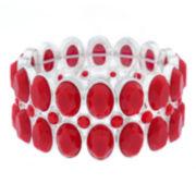 Liz Claiborne® Red Stone Silver-Tone Stretch Bracelet