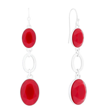 jcpenney.com | Liz Claiborne® Red Stone Silver-Tone Linear Earrings