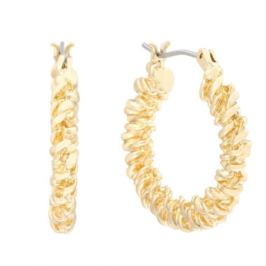 jcpenney.com | Monet® Gold-Tone Textured Hoop Earrings
