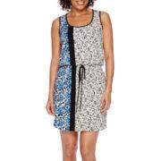 London Style Collection Sleeveless Side-Border Print Blouson Sheath Dress
