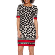 R&K Originals® 3/4-Sleeve Border Print Sheath Dress