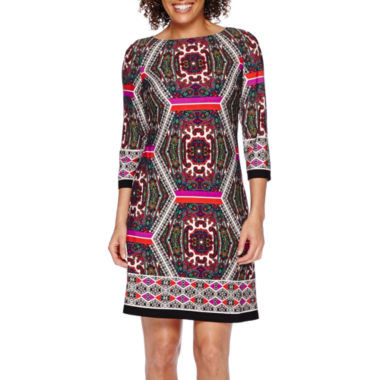 jcpenney.com | London Style Collection 3/4-Sleeve Printed Shift Dress