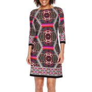 London Style Collection 3/4-Sleeve Printed Shift Dress