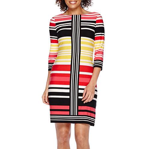 London Style Collection 3/4-Sleeve Striped Sheath Dress - Petite