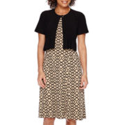 Danny & Nicole® Short-Sleeve Pleated One-Button Jacket Dress