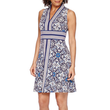 jcpenney.com | London Style Collection Sleeveless Printed Fit-and-Flare Dress