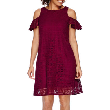 jcpenney.com | Danny & Nicole® Short-Sleeve Cold Shoulder Lace Fit-and-Flare Dress