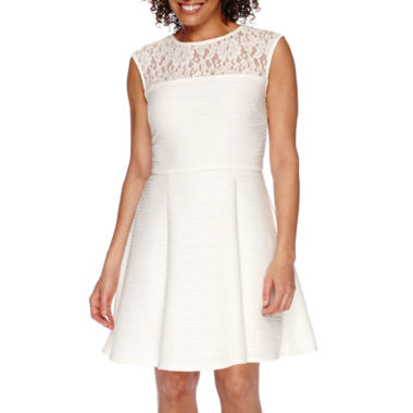 jcpenney.com | Danny & Nicole® Sleeveless Lace Illusion Neck Fit-and-Flare Dress