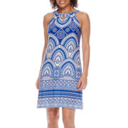 Danny & Nicole® Sleeveless Keyhole Halter Fit-and-Flare Dress