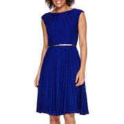 London Style Collection Short-Sleeve Belted Lace Fit-and-Flare Dress