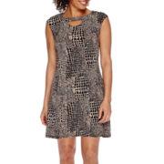 Danny & Nicole® Short-Sleeve Keyhole Animal-Print Sheath Dress