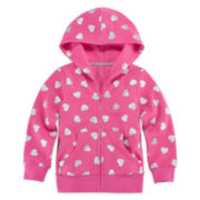 Okie Dokie® Long-Sleeve Print Fleece Hoodie - Toddler Girls 2t-5t