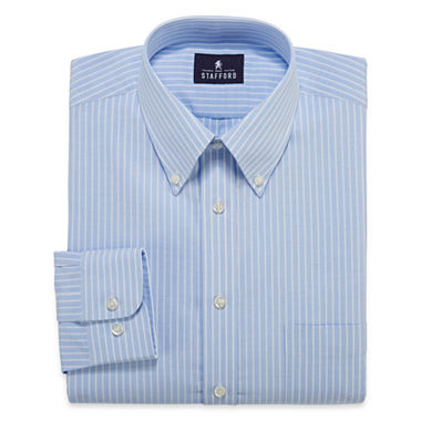 Stafford long sleeve travel wrinkle free oxford dress for Best wrinkle free dress shirts