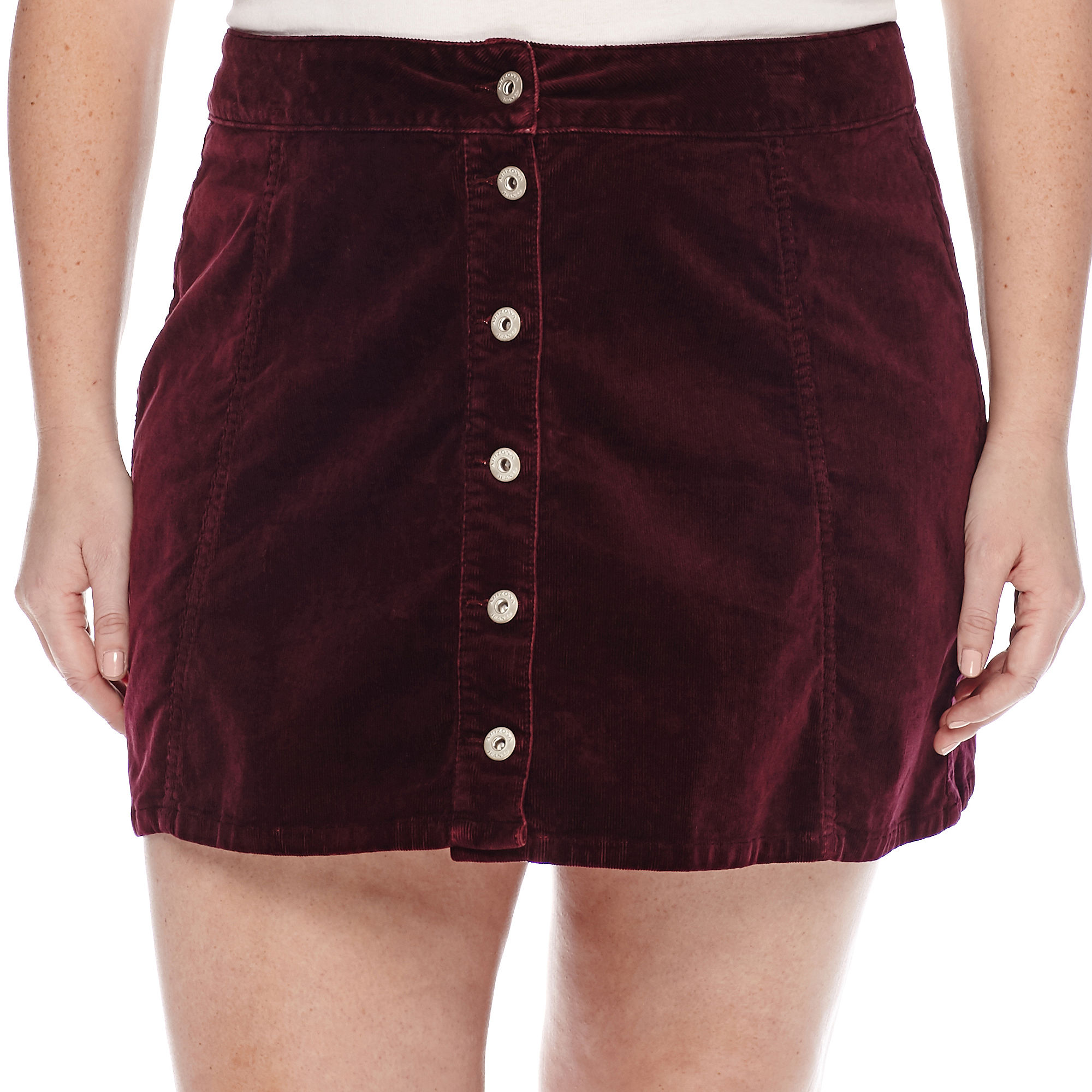 Arizona Corduroy Button-Front Skirt - Juniors Plus plus size,  plus size fashion plus size appare