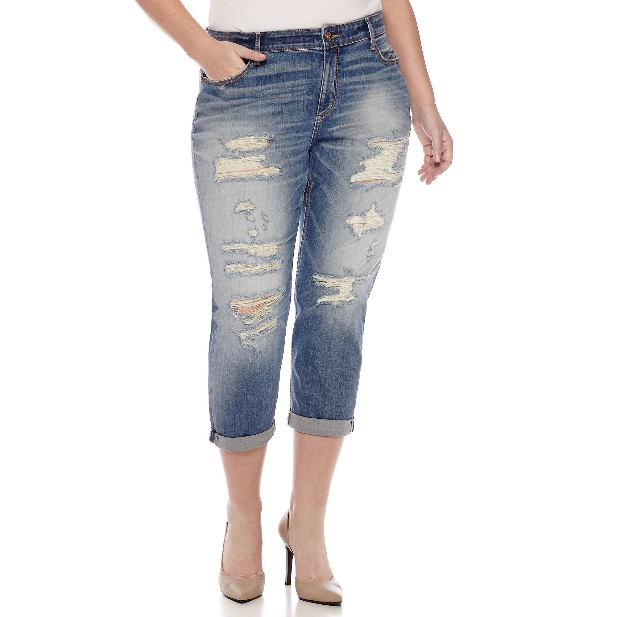 Arizona Destructed Boyfriend Jeans - Juniors Plus plus size,  plus size fashion plus size appare