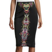Bisou Bisou® Embroidered Slit-Back Skirt
