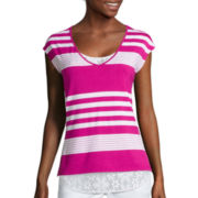 Liz Claiborne® Striped Lace Tee