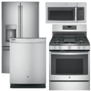 GE® 4-pc. Electric Kitchen Package- High-Gloss White