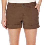 a.n.a® Flat-Front Flap Pocket Poplin Shorts - Petite