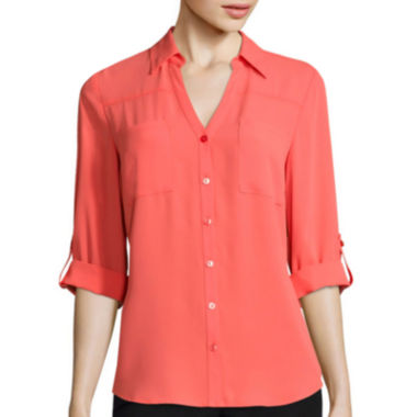 jcpenney.com | by&by 3/4-Sleeve Solid Button-Front Shirt