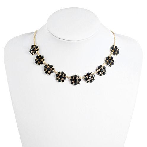 Monet Jewelry Womens Black Collar Necklace