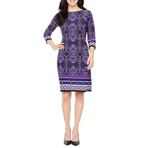 London Times 3/4 Sleeve Paisley Shift Dress