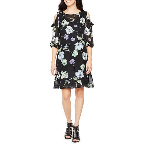 Danny & Nicole Cold Shoulder Sleeve Floral Shift Dress