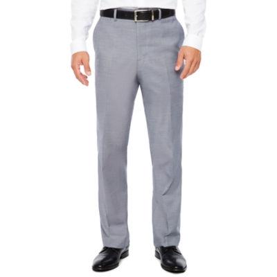 Men's JF J.Ferrar Stretch Gray Blue Sharkskin Flat-Front Slim Fit Pant
