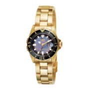 Invicta® Womens Gold-Tone Mother-of-Pearl Pro Diver Watch