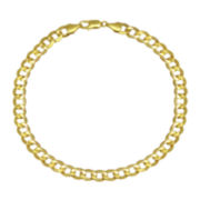 "10K Yellow Gold 9"" Hollow Curb Chain Bracelet"