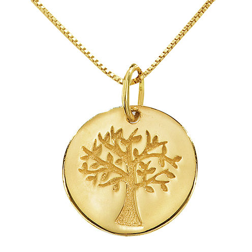 14K Yellow Gold Family Tree Pendant Necklace