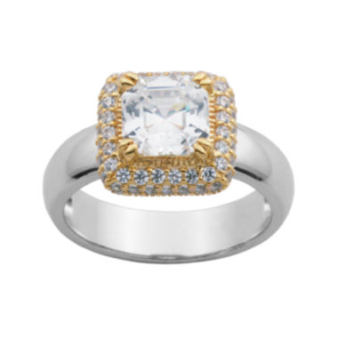 jcpenney.com | DiamonArt® 18K Gold Over Sterling Silver Cubic Zirconia Cushion-Cut Ring