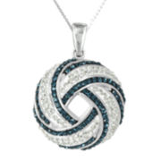 Sterling Silver Blue and White Crystal Swirl Pendant Necklace