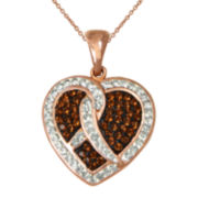 14K Rose Gold Over Silver Crystal Heart Pendant