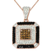 14K Rose Gold Over Silver Crystal Square Pendant