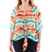 by&by 3/4-Sleeve Cold Shoulder Sheer Print Top – Plus