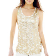 Worthington® Sequin & Lace Tank Top - Petite