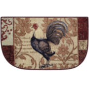 Rooster Damask Kitchen Wedge Rug